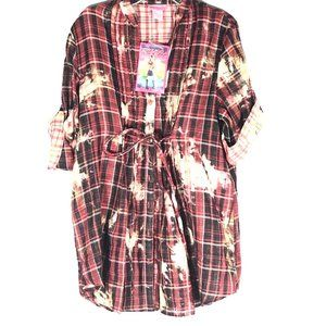SHE's COOL NWT Bleached Flannel Shirt Size Large